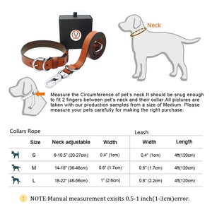 High Quality Genuine Leather Dog Collar and Leash Set - Dog Nation