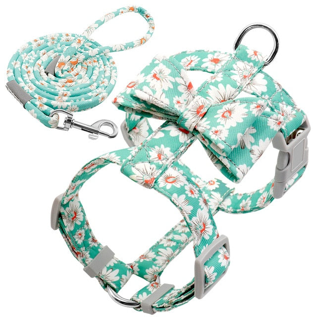 Dog Harness Leash Bow Tie Set for Small & Medium Dogs - Dog Nation