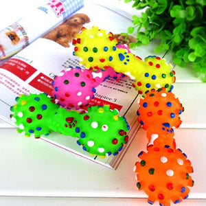 Colourful Dotted Squeaking Dumbbell Shaped Toy for Dogs - Dog Nation