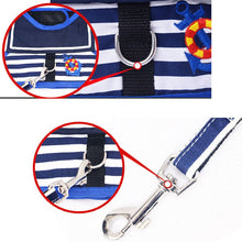 Load image into Gallery viewer, Navy Style Striped Vest Dog Harness & Leash Set - Dog Nation