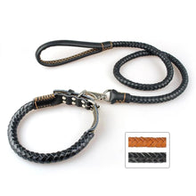 Load image into Gallery viewer, Genuine Leather Dog Collar and Leash Set Braided Leather Adjustable - Dog Nation