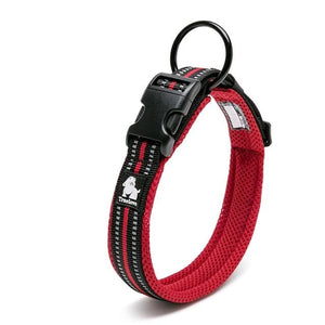 Dog Collar Heavy Duty Adjustable Nylon Reflective Padded - Dog Nation