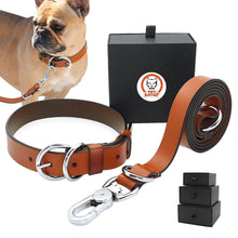 Load image into Gallery viewer, High Quality Genuine Leather Dog Collar and Leash Set - Dog Nation