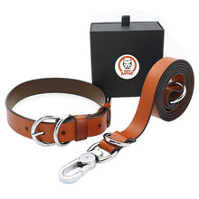 Load image into Gallery viewer, High Quality Genuine Leather Dog Collar and Leash Set