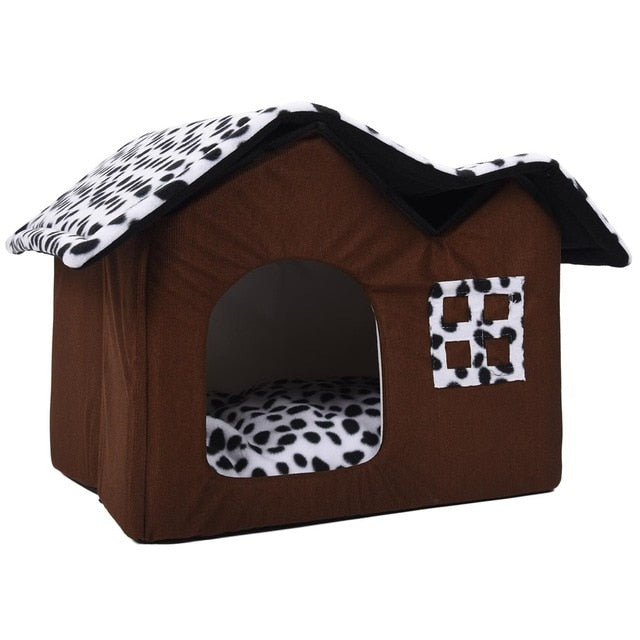 Brown Foldable Dog House Bed