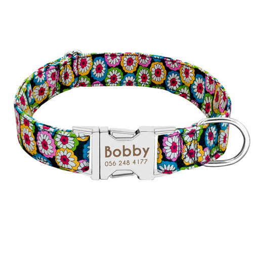Calipso Nylon Personalised Dog Collar Metal Buckle - Dog Nation