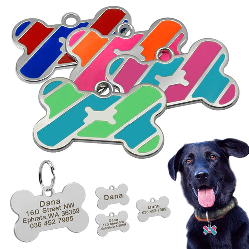 Bone Shaped Dog ID Tag Stainless Steel Free Engraving - Dog Nation