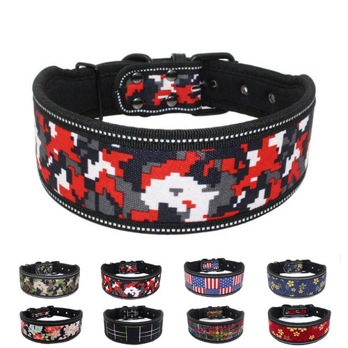Dog Collar Soft Foam Padded Wide Heavy Duty Adjustable Reflective - Dog Nation