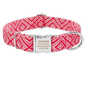 100% Cotton Thick Strong Personalised Dog Collar - Dog Nation