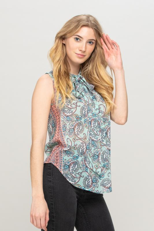 Mint Paisley Print Top with Neck Tie