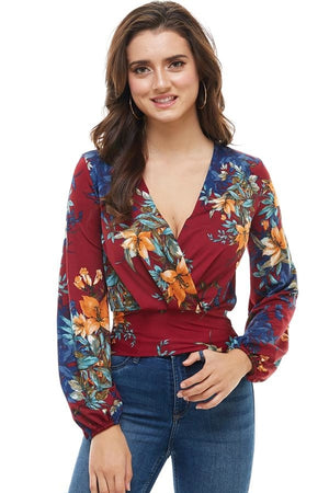 Floral Print Surplice Smock Back Long Sleeve Top