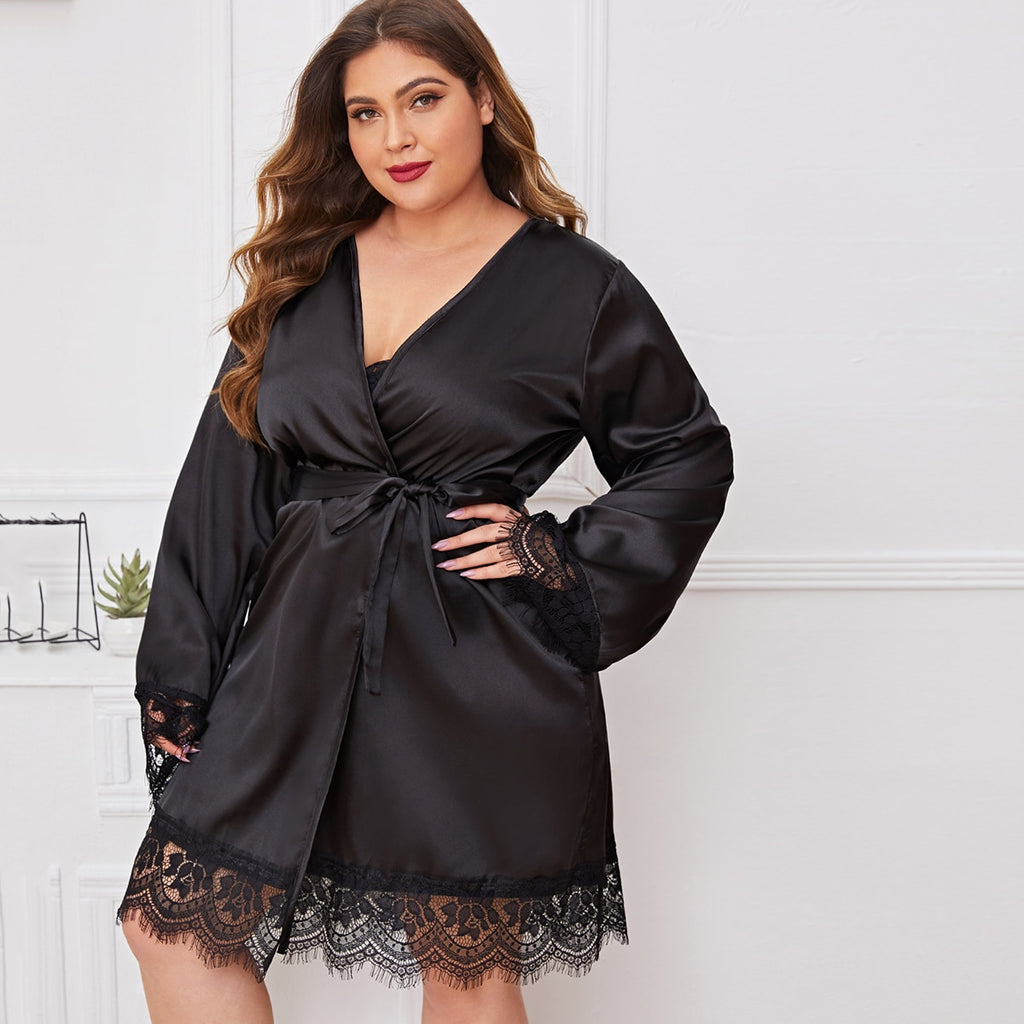 Plus Contrast Lace Belted Satin Robe