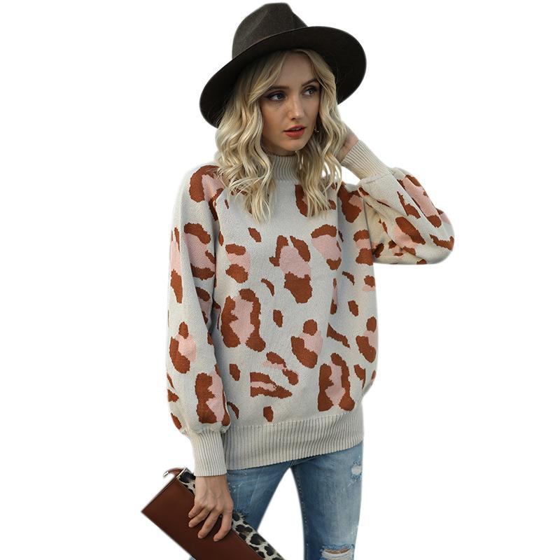 Fashion Leopard Print Knitted Sweaters