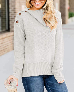 Long Sleeve Button Knitted Sweater