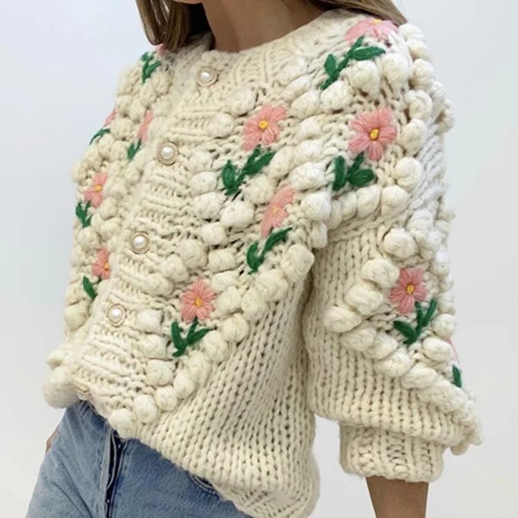 Handmade Crochet Knitted Long Sleeve Autumn Winter Sweater Coat