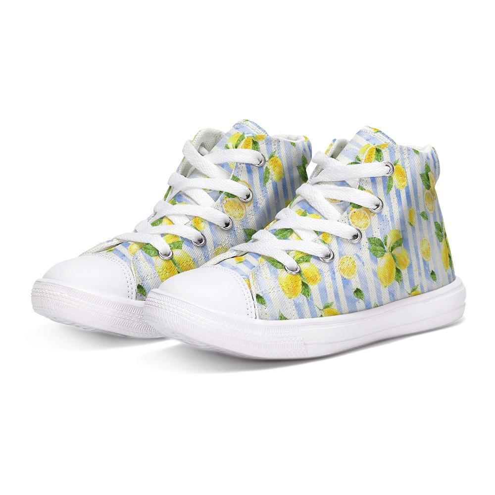 Summer Lemon Stripe Kids Hightop Canvas Shoe