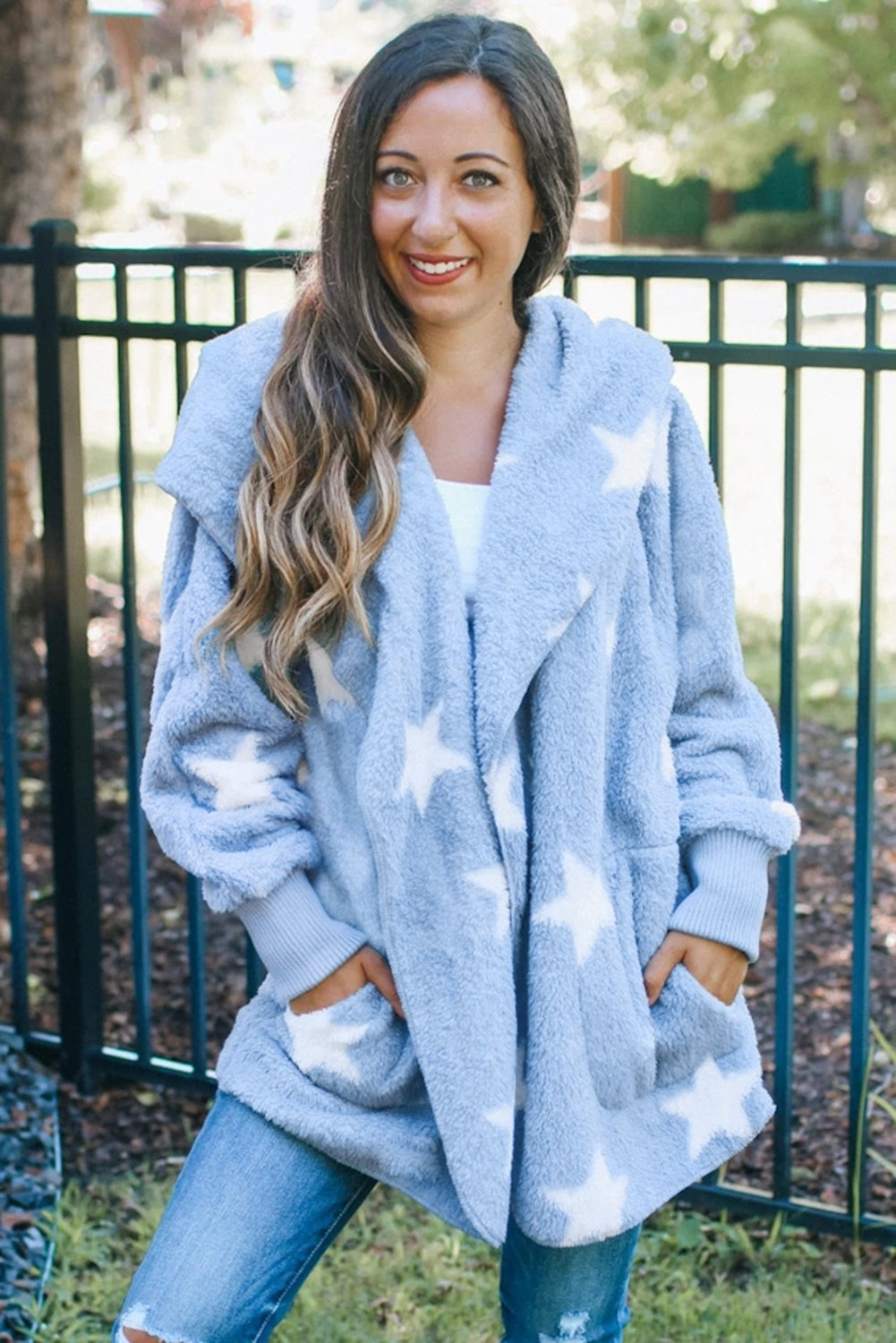 Women's Sky Blue Lapel Collar Scatter Star Fuzzy Coat