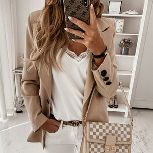 Long Sleeve Jacket Women Elegant Turndown Collar Button Coat