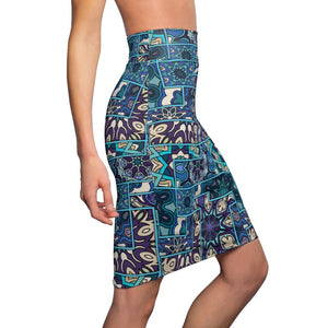 Abstract Women's Pencil Skirt