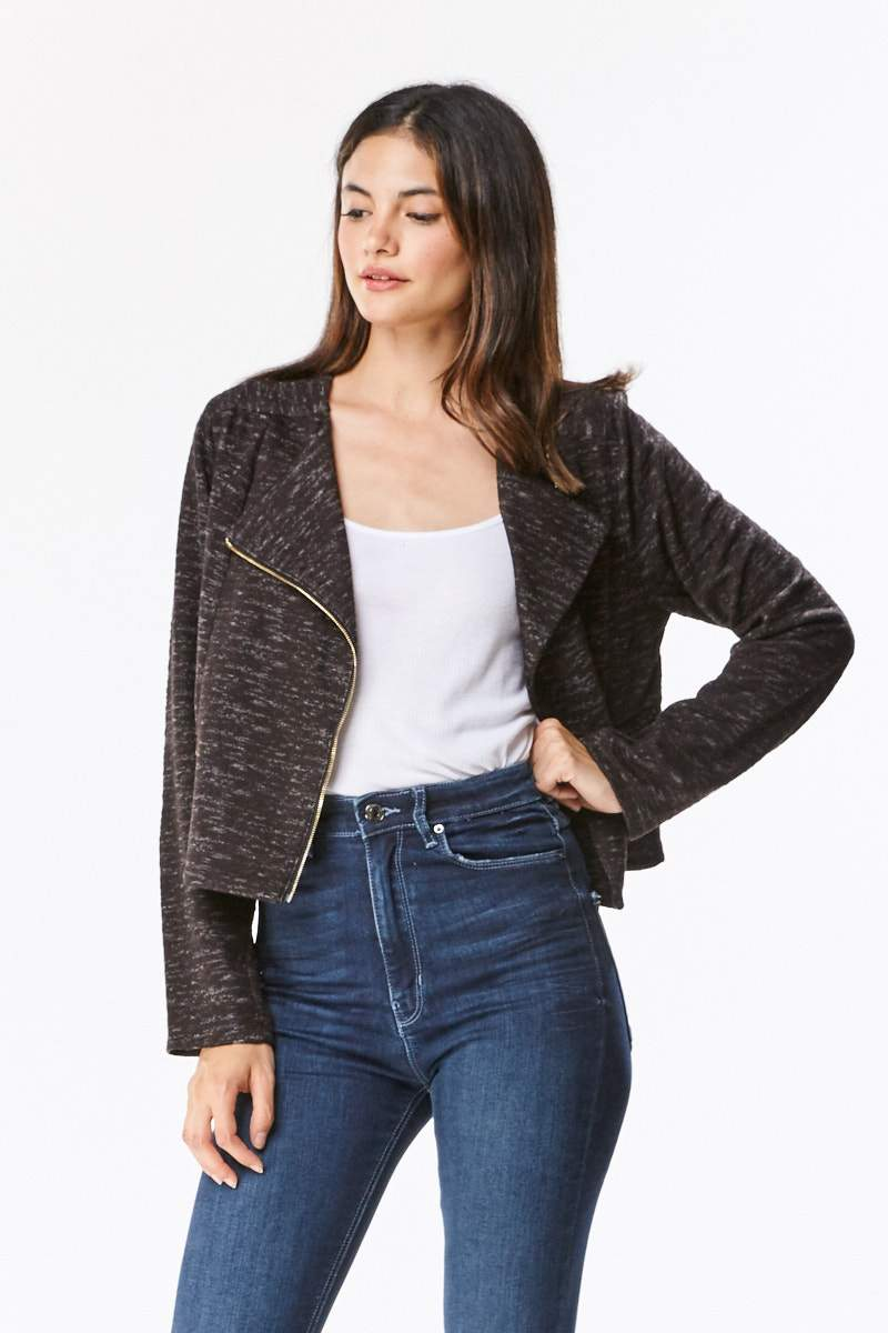 Brushed Knit Moto Jacket