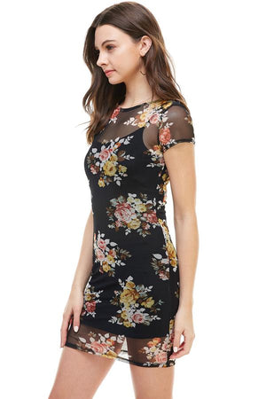 Floral Inner Lined Mock Neck Cap Sleeve Fitted Dress