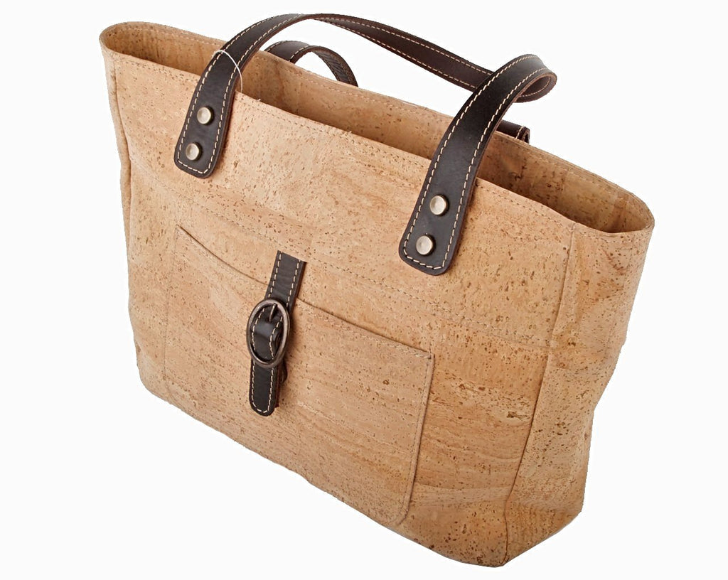 Cork Handbag with Leather Trim