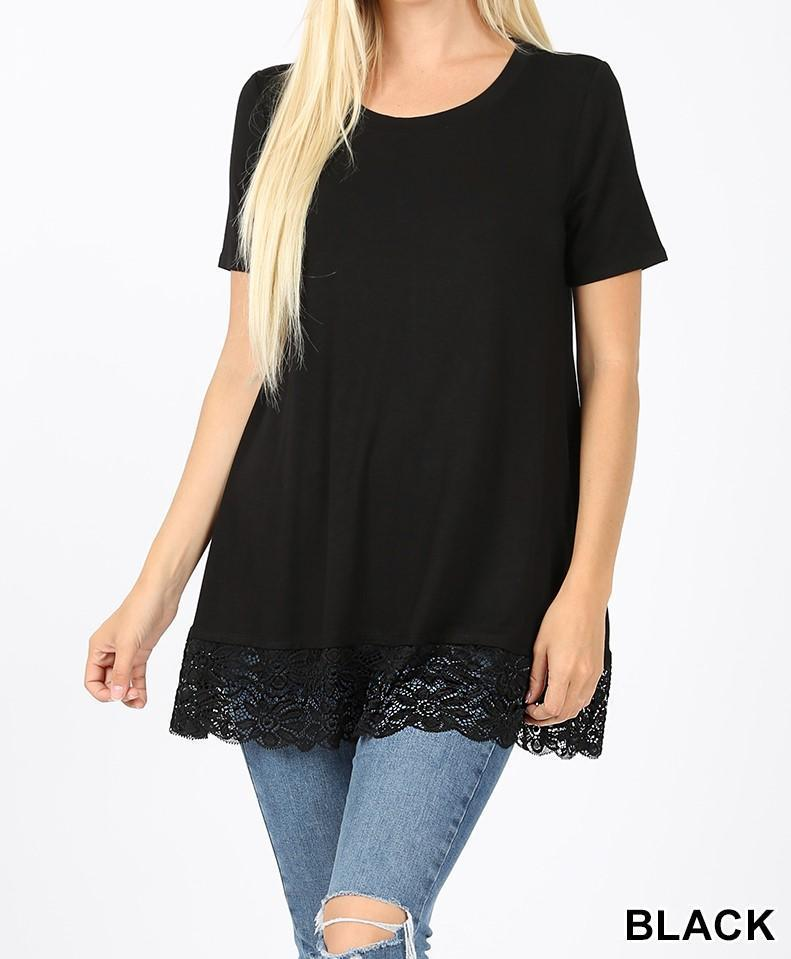 Plus Luxe Short Sleeve Top with Lace Bottom