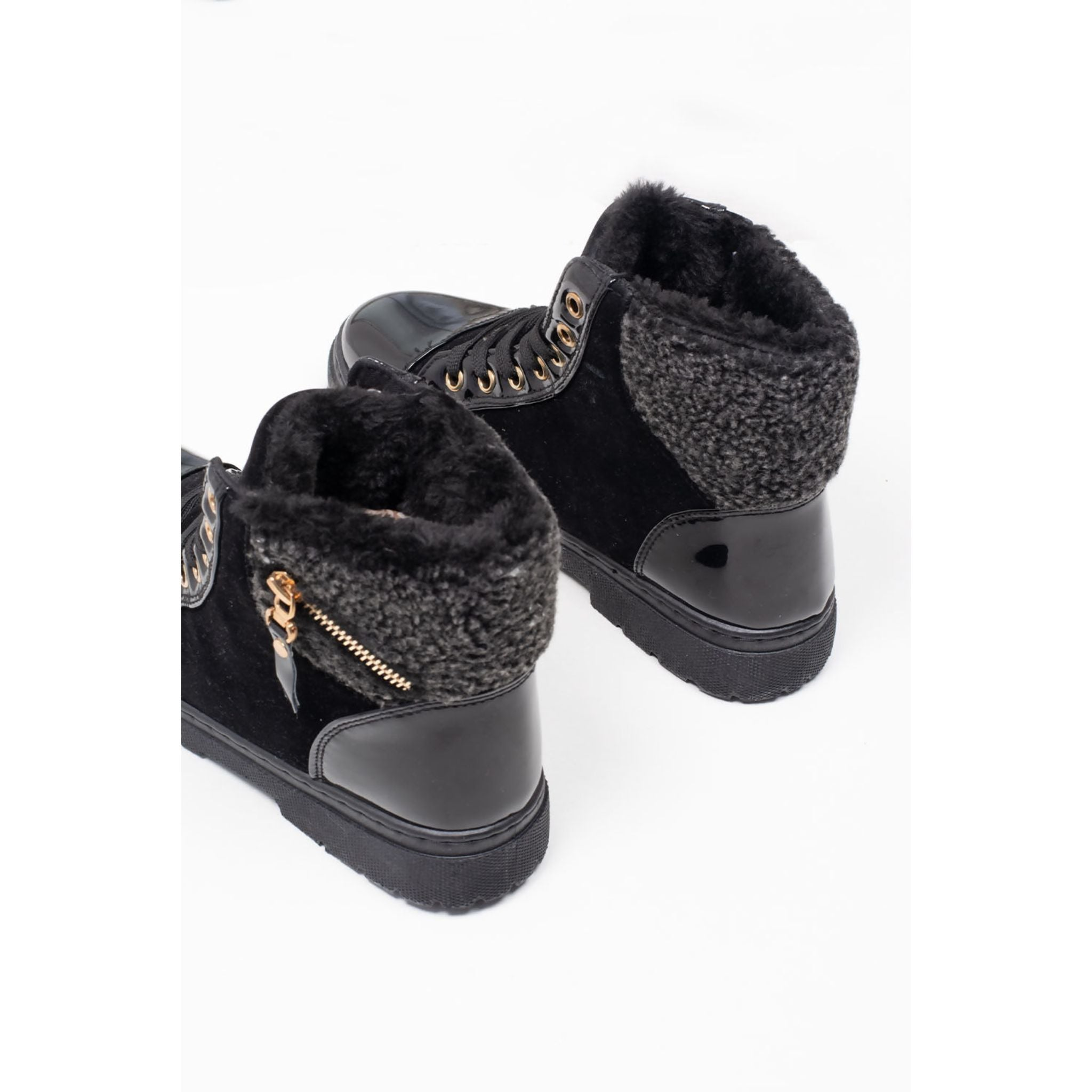 Black Lace Up Borg Fur Boots