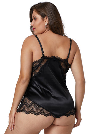 Black Lace Cups Silky Satin Sexy Plus Size Chemise