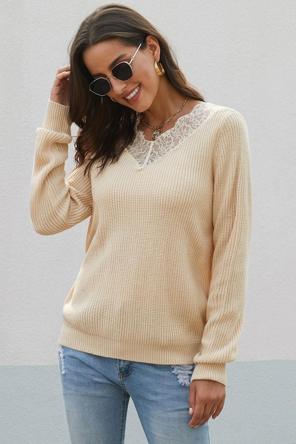 Chic Khaki Lace Collar V Neck Ribbed Sweater