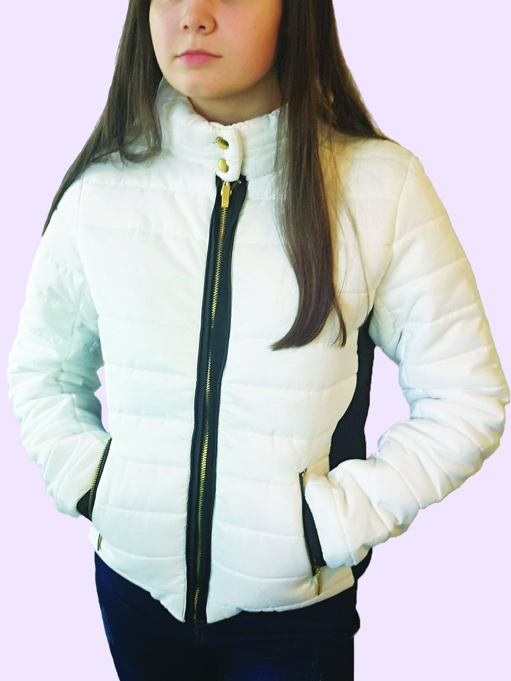 White With Black Contrast Puffer Jacket