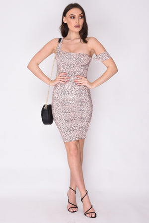 Nude Leopard Print Bodycon Dress