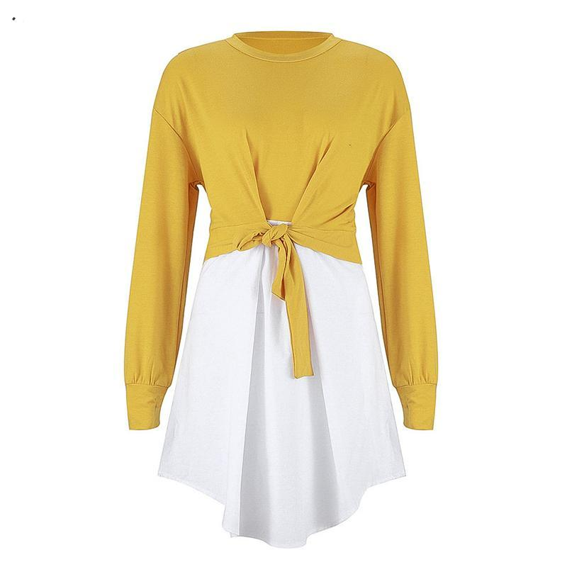 Women Patchwork High Waist Knot Long Sleeve Spring