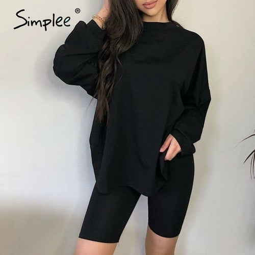 Simplee Casual solid outfits women's two piece suit with belt Home
