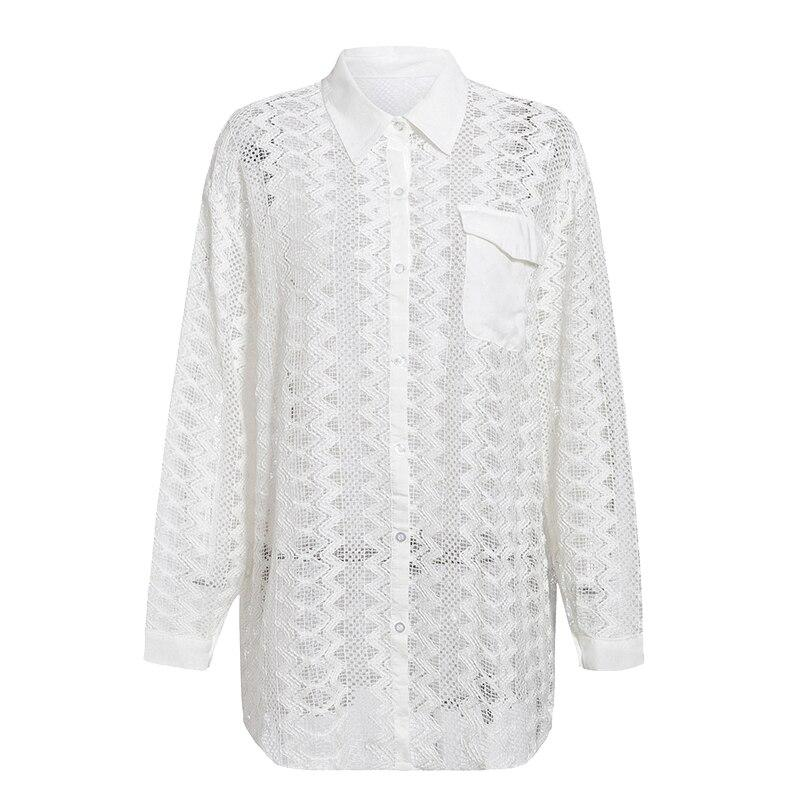 Embroidery White Womens Clothing Shirt Sexy Hollow Out See Through