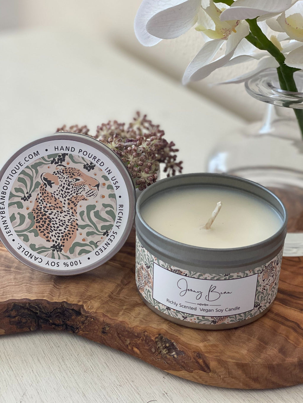 Blue Jasmine + Royal Fern- Leopard Soy Candle