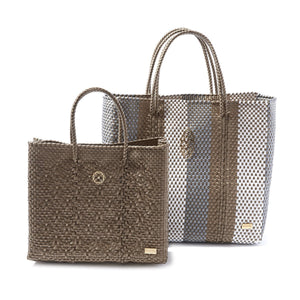 SILVER GOLD STRIPE TOTE BAG