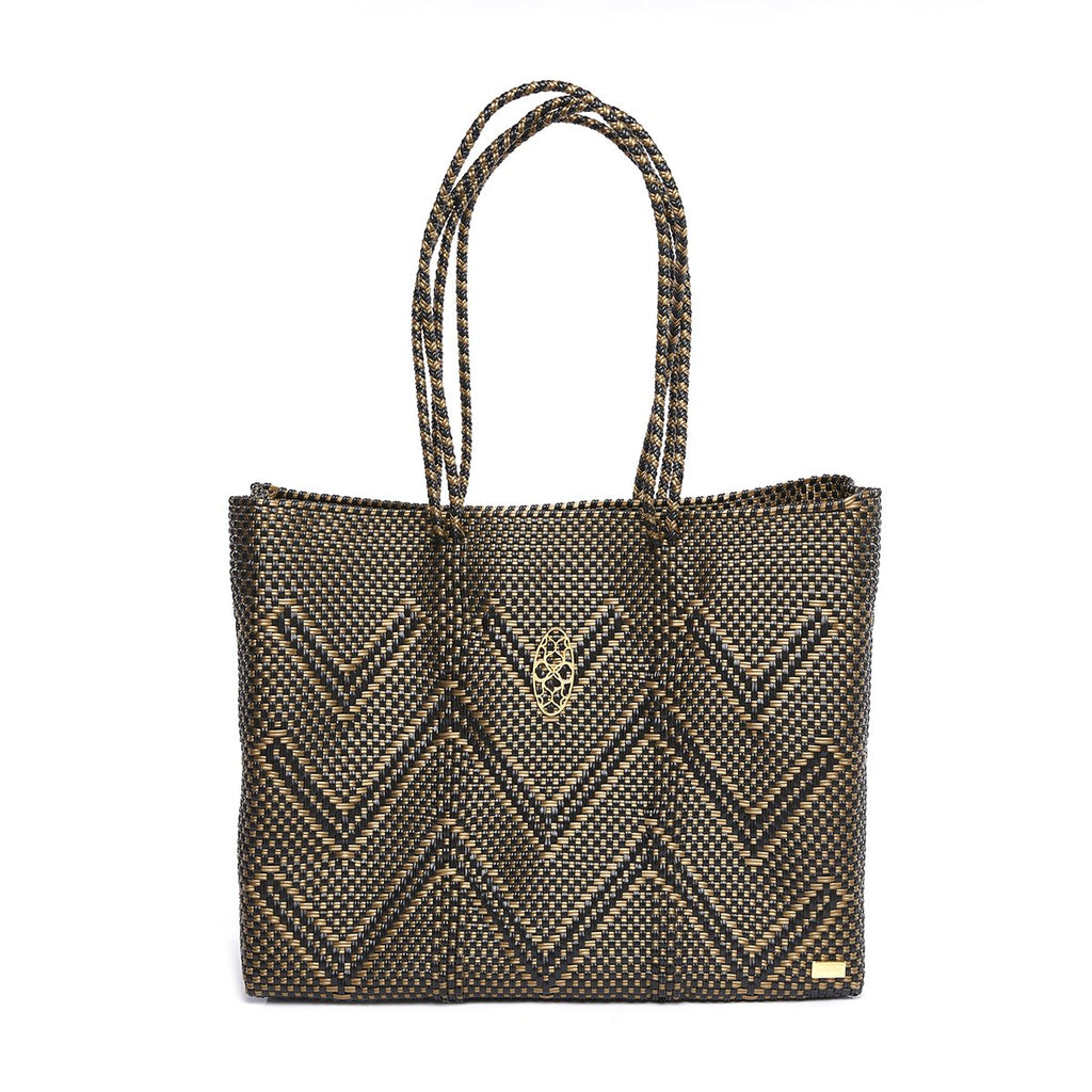 BLACK/GOLD CHEVRON TRAVEL TOTE BAG WITH CLUTCH