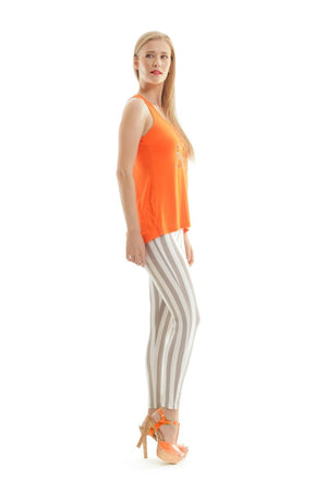 Racer Back Print Top in Orange
