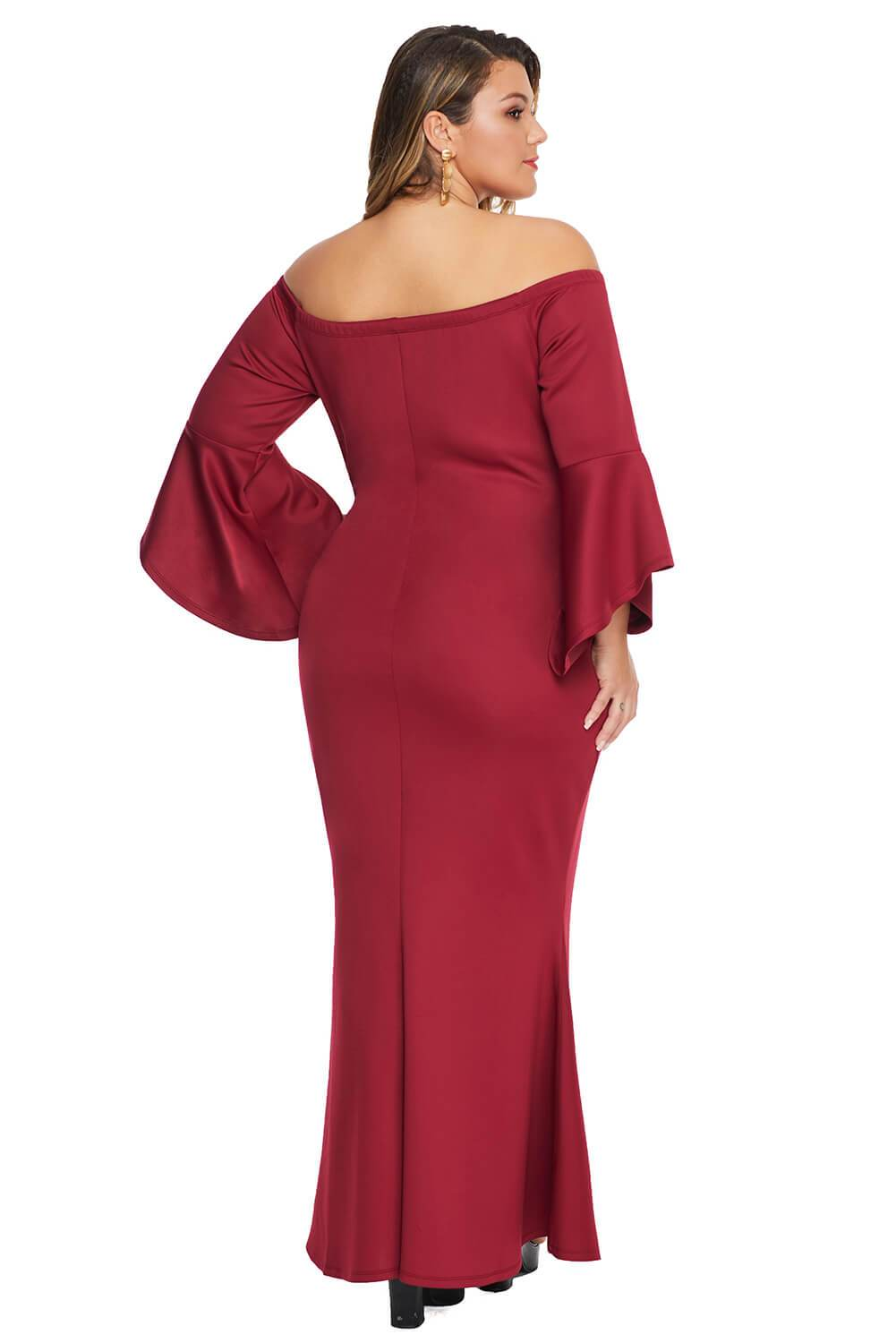 Off Shoulder Flare Sleeve Red Plus Size Maxi Dress