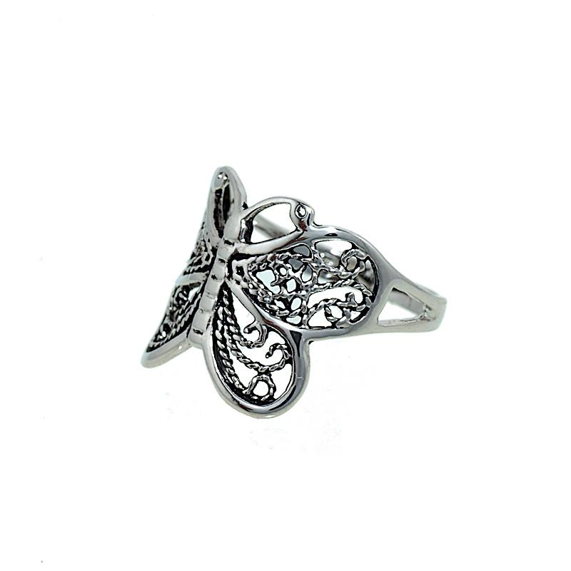 Delicate Filigree Look Butterfly Ring with Antique Finish