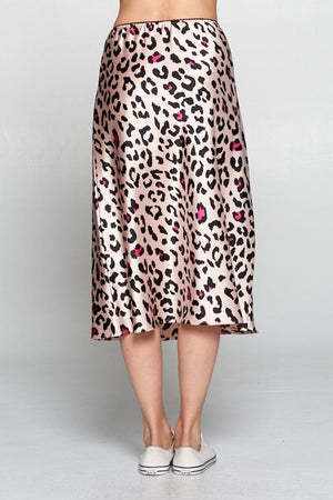Leopard Print Satin Skirt