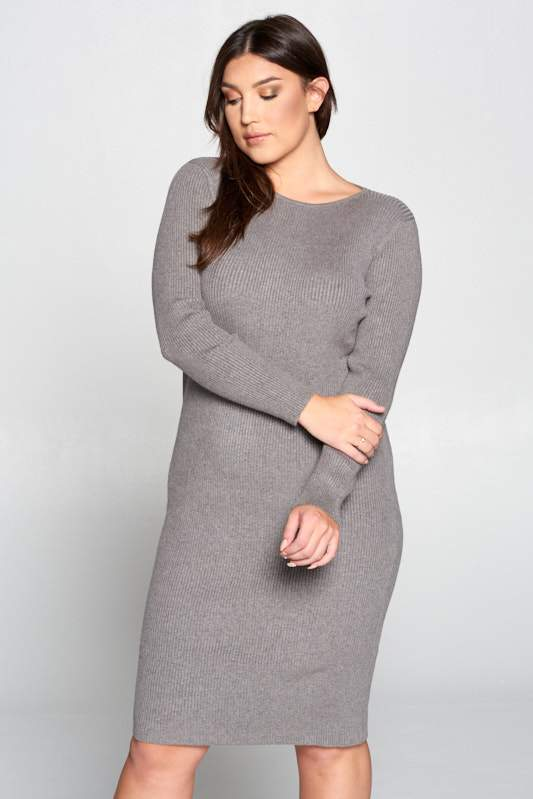 Gray Ribbed Knit Bodycon Dress