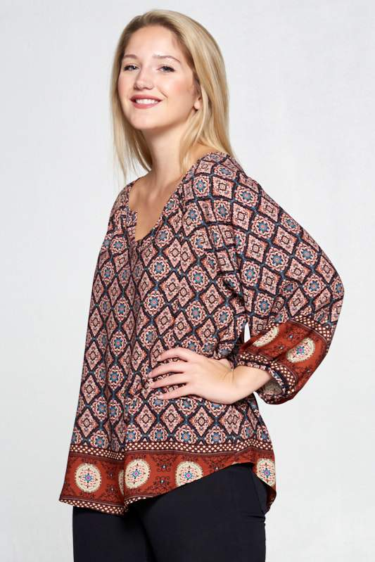 RUST BORDER PRINT V-NECK TOP - PLUS SIZE