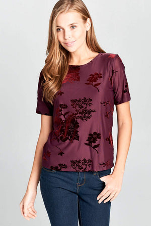 SHORT SLEEVE CRUSHED VELVET TOP