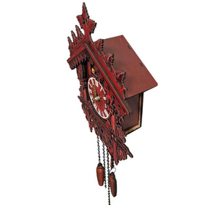 Vintage Wooden Cuckoo Clock Swinging Pendulum Wood