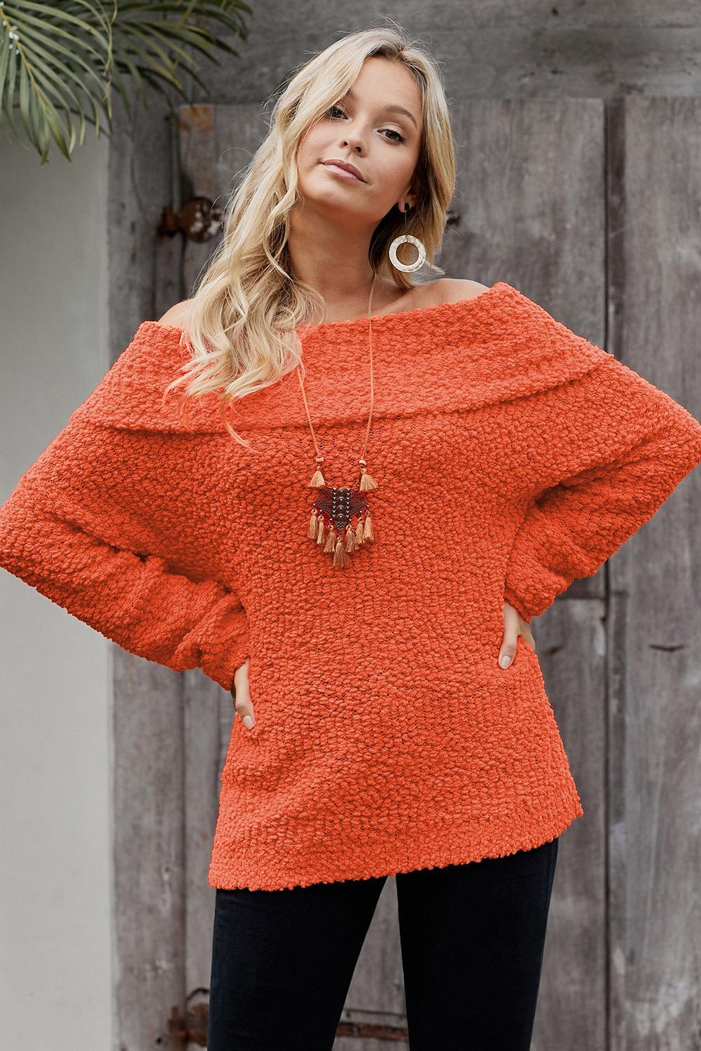 Winter Orange Off The Shoulder Comfy Sweater