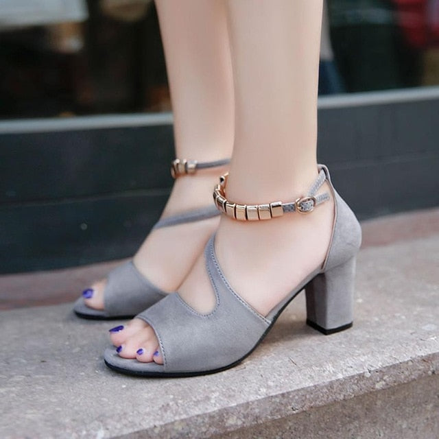 Women Sandals High Heels Solid Color Peep Open Toe Shoes