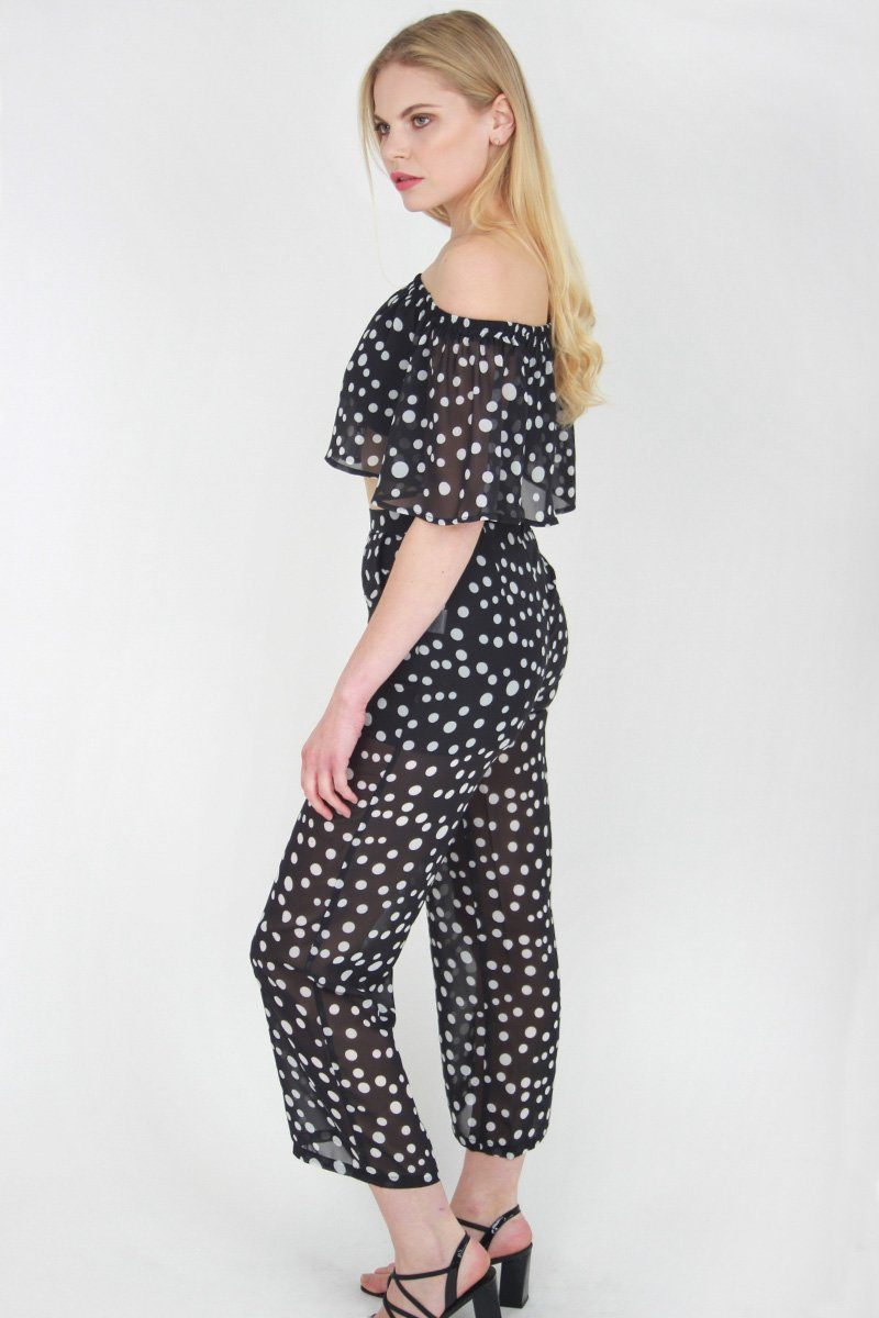 Black Sheer Polka Dot Co-ord