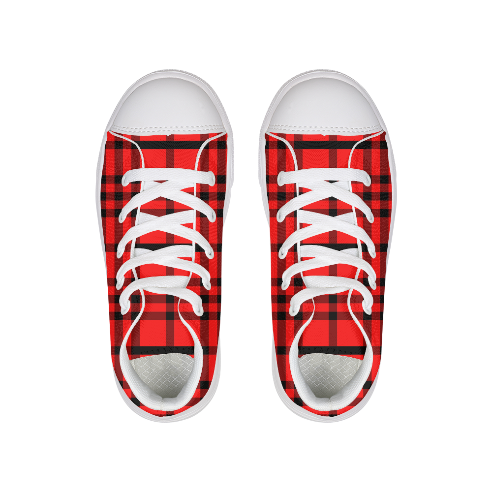 Red Plaid Kids Hightop Canvas Shoe